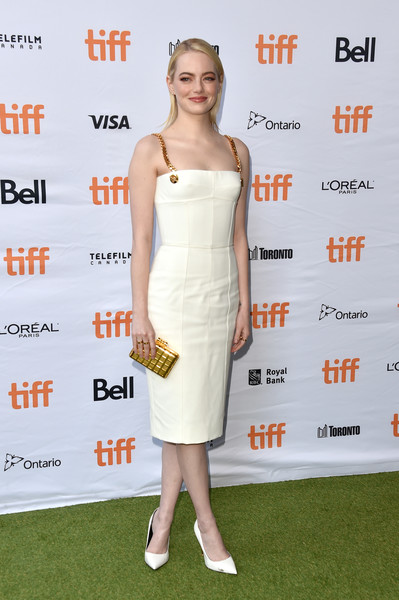 Emma Stone Corset Dress [battle of the sexes,fashion model,cocktail dress,flooring,shoulder,joint,dress,catwalk,fashion,carpet,gown,emma stone,toronto,canada,ryerson theatre,toronto international film festival]