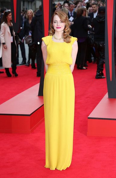 Emma Stone Evening Dress [the amazing spider-man 2,flooring,fashion model,yellow,carpet,red carpet,fashion,gown,dress,shoulder,catwalk,red carpet arrivals,emma stone,england,london,odeon leicester square,world premiere]
