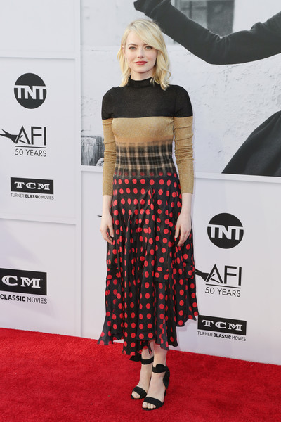 Emma Stone Sweater Dress [red carpet,clothing,carpet,crop top,fashion,premiere,shoulder,flooring,footwear,shirt,california,hollywood,dolby theatre,american film institutes 45th life achievement award gala tribute,emma stone,diane keaton - arrivals,diane keaton]