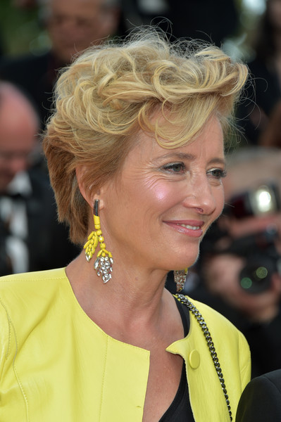 Emma Thompson Short Curls [the meyerowitz stories,hair,blond,yellow,beauty,human hair color,hairstyle,lady,eyebrow,smile,chin,red carpet arrivals,emma thompson,cannes,france,cannes film festival,premiere,palais des festivals]