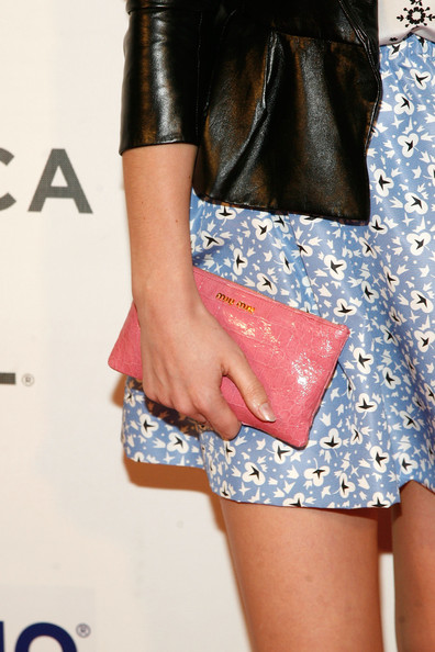 Emma Watson Patent Leather Clutch [struck by lightning,clothing,leather,fashion,shorts,street fashion,footwear,leg,waist,shoulder,joint,premiere,emma watson,new york city,borough of manhattan community college,tribeca film festival]