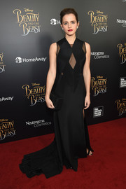 Emma Watson made an ultra-sophisticated choice with this sheer-panel black gown by Givenchy Couture for the New York screening of 'Beauty and the Beast.'