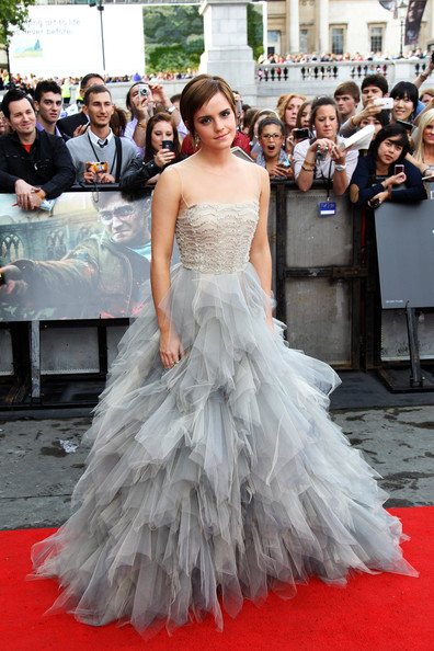 Emma Watson Evening Dress [harry potter and the deathly hallows part 2 - world premiere - inside arrivals,deathly hallows part 2,gown,dress,wedding dress,flooring,carpet,bridal clothing,lady,hairstyle,girl,red carpet,emma watson,uk,trafalgar square,england,london,tabloid newspapers,world premiere]
