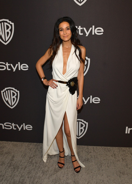 Emmanuelle Chriqui Strappy Sandals [white,clothing,shoulder,dress,fashion model,fashion,red carpet,carpet,leg,footwear,emmanuelle chriqui,beverly hills,california,the beverly hilton hotel,instyle,red carpet,warner bros. 76th annual golden globe awards,warner bros. 76th annual golden globe awards post-party]