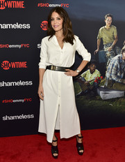 Bethenny Frankel was casual-chic in a white shirtdress at the Emmy FYC event for 'Shameless.'