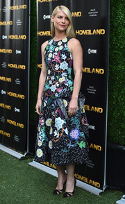 Claire Danes looked lively in a graphic floral frock by Peter Pilotto during the Emmy FYC event for 'Homeland.'