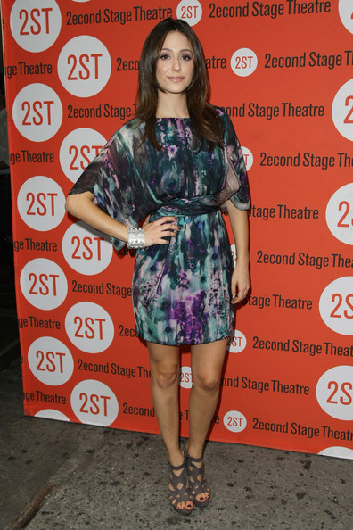 Emmy Rossum Strappy Sandals [clothing,dress,fashion,shoulder,footwear,premiere,fashion model,fashion design,leg,cocktail dress,emmy rossum,new york city,second stage theatre,trust,off-broadway,opening night - arrivals]