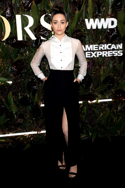 Emmy Rossum Tuxedo Top [clothing,formal wear,suit,fashion,dress,tuxedo,neck,sleeve,pantsuit,photography,emmy rossum,barclay,wwd honors,new york city,intercontinental new york]