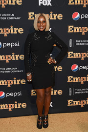 Mary J. Blige went for edgy elegance in a grommeted LBD during the 'Empire' season 2 premiere in New York.