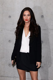 Bombshell Megan Fox showed off her long brunette locks while hitting Milan Fashion Week.