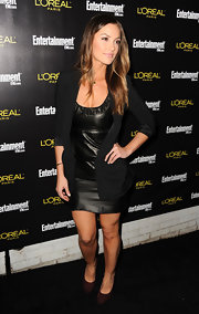 Minka dons a black blazer over a leather mini for the pre-SAG Awards party.
