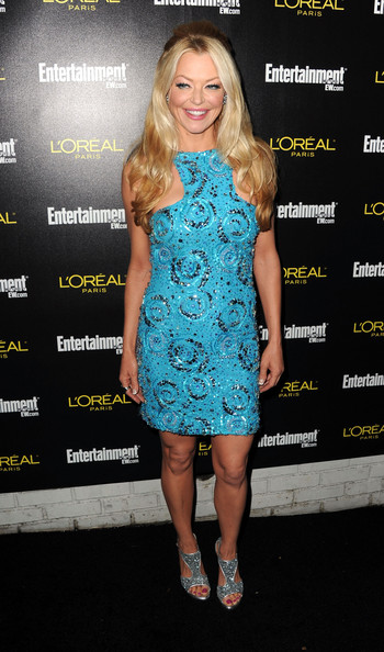 """Charlotte Ross glimmered at the """"Entertainment Weekly"""" SAG Awards party in glittery silver platform sandals."""