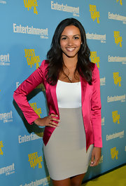 Jessica Lucas topped off an outfit with a gorgeous hot pink satin blazer at Entertainment Weekly's 6th Annual Comic-Con Celebration.
