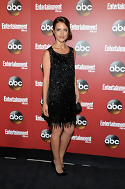 This black beaded dress gave Hannah Ware a fun flapper-inspired look at ABC's Upfront Party.