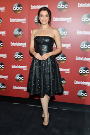 Bellamy Young chose this strapless leather dress with embellishments for her feminine but edgy look at ABC's Upfront Event in NYC.