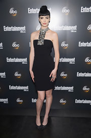 Krysten Ritter stepped into a pair of black suede pumps with sparkly Swarovski crystals for the Upfront VIP party.