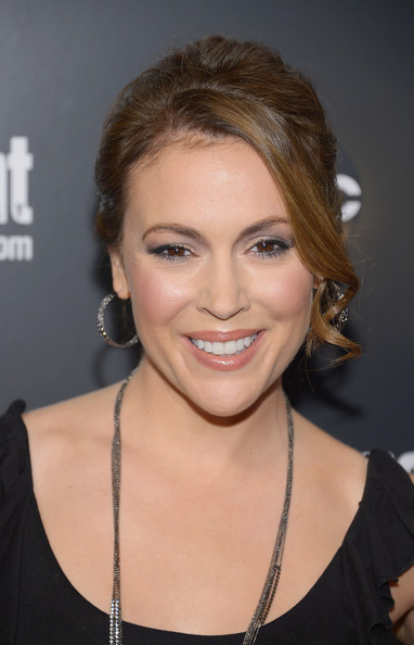 More Pics of Alyssa Milano Loose Bun (5 of 6) - Updos Lookbook - StyleBistro