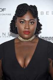 Danielle Brooks caught eyes with her funky dreadlock updo at the Entertainment Weekly SAG nominees celebration.