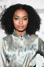 Yara Shahidi completed her striking look with a heavy application of blue eyeshadow.