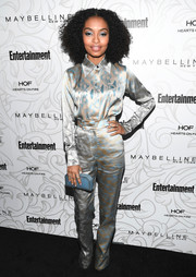 Yara Shahidi topped off her look with a pastel-blue hard-case clutch (which was a perfect match to her eyeshadow!).