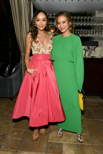 More Pics of Jamie Chung Strappy Sandals (3 of 3) - Jamie Chung Lookbook - StyleBistro [clothing,pink,green,fashion,dress,lady,formal wear,event,fashion design,shoulder,nominees,jamie chung,ashley madekwe,entertainment weekly celebrates screen actors guild award,popsockets - inside,l-r,chateau marmont,california,lor\u00e9al paris,cadillac]