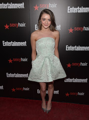Maisie Williams looked darling in an intricately embroidered mint-green strapless mini by Reem Juan at the Entertainment Weekly SAG Awards nominee celebration.