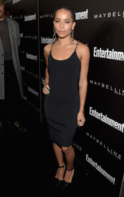Zoe Kravitz put her slim physique on display in a body-con Alexander Wang LBD with chain shoulder straps during the Entertainment Weekly celebration honoring the SAG nominees.