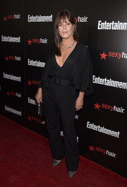 Marcia Gay Harden looked fab in a low-cut black jumpsuit with flutter sleeves at the Entertainment Weekly SAG Awards nominee celebration.