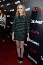 Laura Carmichael went for a retro feel with this patterned skirt suit during the Entertainment Weekly SAG nominees celebration.
