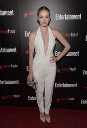 Greer Grammer revealed her more daring side in a white jumpsuit with a navel-grazing neckline during the Entertainment Weekly SAG Awards nominee celebration.
