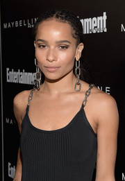 Zoe Kravitz made an ultra-edgy statement with those dangling chain earrings (and they matched her shoulder straps too!).