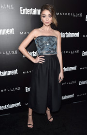 Sarah Hyland was cool and elegant in a strapless, feather-beaded blue top by Armani at the Entertainment Weekly celebration honoring the SAG nominees.