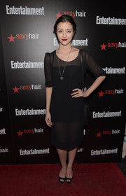 Katie Findlay chose a simple sheer LBD for the Entertainment Weekly SAG Awards nominee celebration.