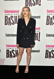 Skyler Samuels looked smart in a belted tuxedo dress by Alice McCall at the Entertainment Weekly Comic-Con celebration.