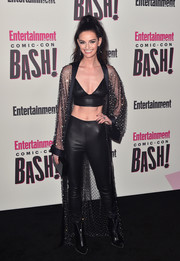 Lydia Hearst teamed a sheer, studded Amen kimono with a leather bra and matching pants for the Entertainment Weekly Comic-Con celebration.