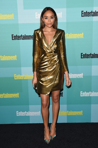 Ashley Madekwe completed her high-shine ensemble with studded silver pumps by Christian Louboutin.