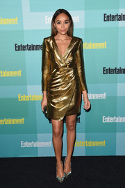 Ashley Madekwe was a gilded beauty in a Saint Laurent metallic faux-wrap dress during the Entertainment Weekly Comic-Con party.