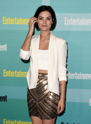 Jaimie Alexander paired this cropped white blazer with a revealing tube top.