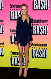 Tara Reid donned a navy Luciana Balderrama mini dress with pearl-embellished shoulders and sleeves for the Entertainment Weekly Comic-Con party.