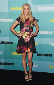 Candice Accola continued the girly vibe with a pair of black ankle-tie sandals by Chelsea Paris.