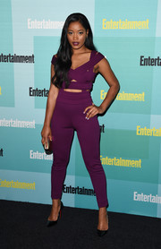 Keke Palmer brought some sizzle to the Entertainment Weekly Comic-Con party with this purple Edition by Georges Chakra cutout top.