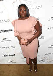 Danielle Brooks went ladylike in a blush cocktail dress with ruffle sleeves during Entertainment Weekly's SAG Awards nominees celebration.