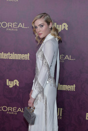 Skyler Samuels arrived for the Entertainment Weekly pre-Emmy party carrying a silver box purse by Ming Ray.