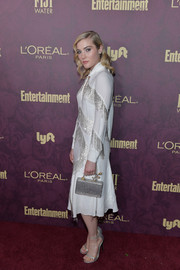 Skyler Samuels looked festive in a white Blumarine dress with silver fringe detailing at the Entertainment Weekly pre-Emmy party.