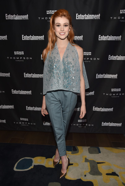 Katherine McNamara punctuated her blues with a pair of gold pumps.