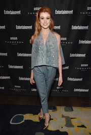 Katherine McNamara went for easy glamour with this loose, beaded blue top by Rami Al Ali at the Entertainment Weekly Must-List party.