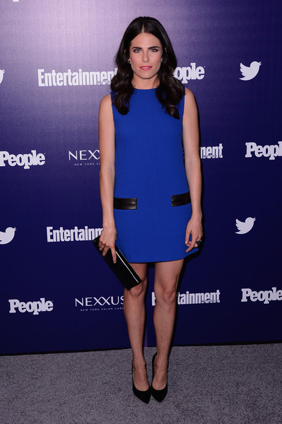 Karla Souza chose a simple yet stylish electric blue mini dress with black leather accents for the Entertainment Weekly and People celebration of the New York Upfronts.