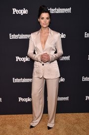 Jaimie Alexander was menswear-chic in a champagne satin pantsuit by Marissa Webb at the Entertainment Weekly and People Upfronts.
