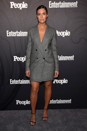 Mandy Moore went the menswear-chic route in a gray blazer dress by Max Mara at the Entertainment Weekly and People New York Upfronts.