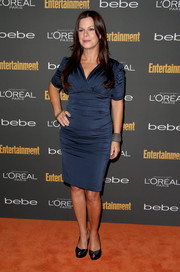Marcia Gay Harden kept it simple with this navy cocktail dress at the Entertainment Weekly pre-Emmy party.